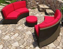 cabo wicker curved sectional 3 piece set flagship ruby