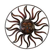 metal sun wall art woodland imports 36in w x 36in h frameless metal sun 3d