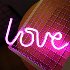 Light Neon Pink Enuoli Pink Love Shaped Night Lights Led Neon Signs Usb Or Battery Operated Night Lights Lamps Art Decor Wall Decoration Table Lights Neon Signs