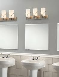 stylish bathroom lighting. Bathroom Lighting Gray Wall Paint Mirror Without Frame Lamps Subway Backsplash Tile Washbasin With Pedestal Stylish I