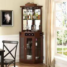 Image Liquor Mini Bar Corner Liquor Cabinet Home Wine Storage Stemware Rack Pub Furniture New Ebay Wooden Home Corner Bars Ebay