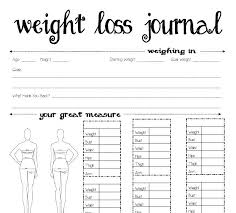 Weight Loss Chart Template Tracker Printable Food Journal Tracking