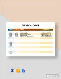 The year 2020 has started and you must be having a lot of work activities to manage to order to achieve your yearly use templates from here for free for your personal or professional work. Event Calendar Template 32 Free Download Free Premium Templates