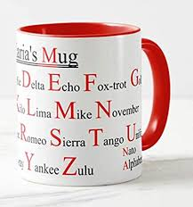 In addition to the 26 code words that are assigned to the english letters, the nato. Vixar Personalised Mug Nato Phonetic Alphabet Red Handle And Inside Amazon Co Uk Kitchen Home