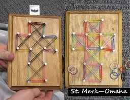 Sunday school craft - 'string art' crosses for Holy Week, but instead of