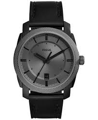 fossil watches macy s fossil men s machine black leather strap watch 42mm fs5265