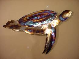 metal turtle wall art at sea turtle
