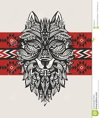 этнический тотем волка индийский волк татуировка волка с орнаментом