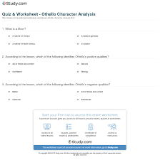 quiz worksheet othello character analysis com print othello character analysis description sketch worksheet