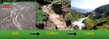 rills gullies valleys
