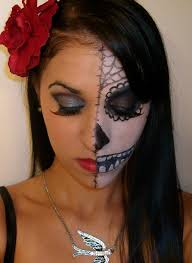 sugar skull makeup on half of face could be good if you think a whole face of makeup would be too time consuming and heavy or e your little nieces and