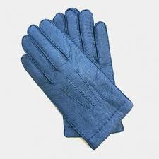 leather gloves of peccary blue paul