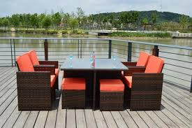 Sunbrella 9 Piece Outdoor Wicker Rattan Patio Dining Table Set