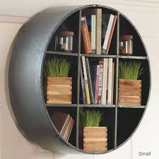... Bookshelf, Interesting Fancy Bookshelves Bookcase Makeover Ideas Round  Black Iron With Square Pot Plant And ...