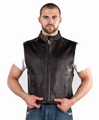 mens leather motorcycle club vest wfront zipper