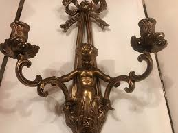 antique french rocco style cherub brass wall sconce candle holder w ribbon 22 l