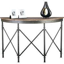 half round entry table antique hall w rustic wood top console tables with mirror circle