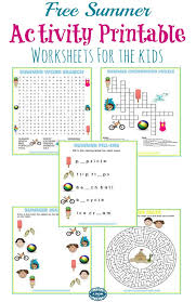 5 Free Summer Activity Printable Worksheets -