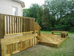 deck ideas. Natural Oak Deck And Sectional Bench Near Brilliant Storage Ideas For Fire Wood Supplay