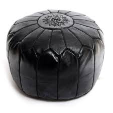 Black And White Pouf Moroccan Leather Pouf Black At Beldinest
