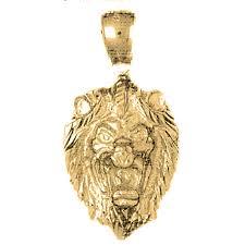 10k 14k or 18k gold lion head pendant