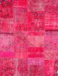 contemporary rug patterned wool rectangular patchwork pink