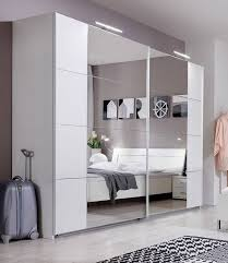 SlumberHaus 'Davos' German Made Modern White & Mirror Sliding Door Wardrobe