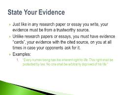 how to write a ld debate case ppt  state your evidence just like in any research paper or essay you write your evidence
