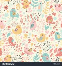 Small Picture Romantic Floral Seamless Pattern With Cute Small Birds In Flowers