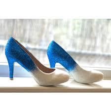 Light Blue Glitter Heels Womens Sparkly Royal Blue White Ombre Glitter High Low Heels Wedding Bride Pumps Shoes