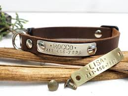 leather cat collar breakaway crazy horse personalized pet gift for