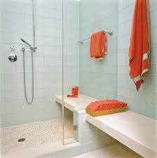 sweet contemporary accent colors bathroom is glass shower door with glass tile with mosaic tiles