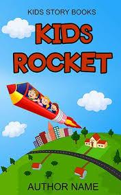 children book cover design kids rocket front