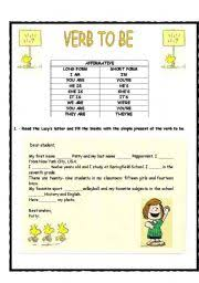 form of be verbs english worksheets verb to be long and short form affirmative form