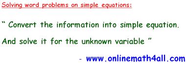 word problems on simple equations