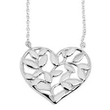 30143159 paloma picasso olive leaf heart pendant ss necklace sterling silver brand new silver heart women s new takei gifts