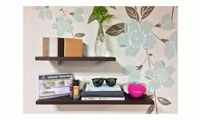 korean floating wall shelf set of three w400 w600 board color pb walnut