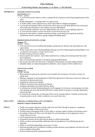 Events Planner Resume Samples Velvet Jobs