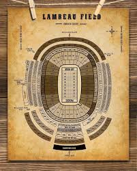 Great Woods Seating Chart Lambeau Field Football Seating Chart 11x14 Unframed Art Print Great Sports Bar Decor And Gift Under 15 For Football Fans