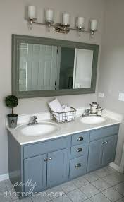 Painted Bathroom Countertops Pretty Distressed Bathroom Vanity Makeover With Latex Paint