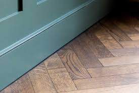 oak parquet flooring in bath