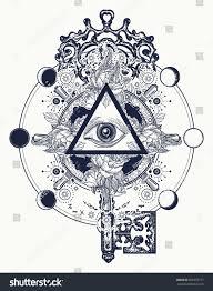 Freemason Design Masonic Eye Key Tattoo Symbols Freemason Stock Image
