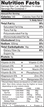 for nutrition info 13 grams of whole grain