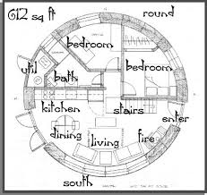 round house plans. PLAN 612 SQ. FT. (ROUND), One Bedroom, Study, Bath. (elevation)and(elevations) Round House Plans