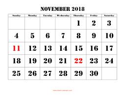 November Through November Calendars November 2018 Printable Calendar Free Download Monthly Calendar
