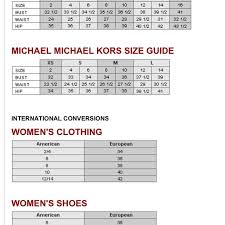 Michael Kors Watch Size Chart Sizing Chart Michael Kors