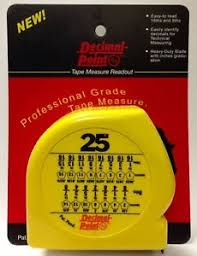 Tape Measure Chart Details About Tape Measure Readout With Decimal Chart Learn How To Use A Tape Measure