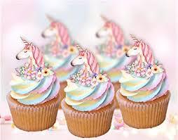 Amazoncom Whimsical Unicorn Edible Cupcake Cake Toppers X12