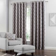 grey curtains beige walls