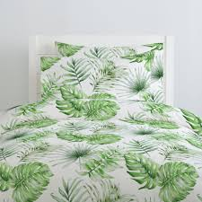 green painted tropical duvet cover